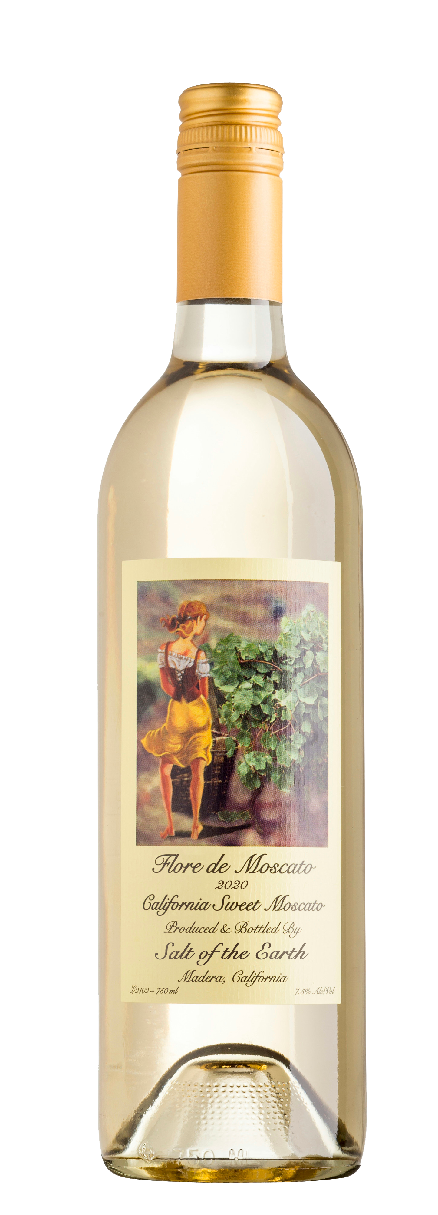 Bottle shot of 2020 vintage Salt of the Earth Wine Flore de Moscato